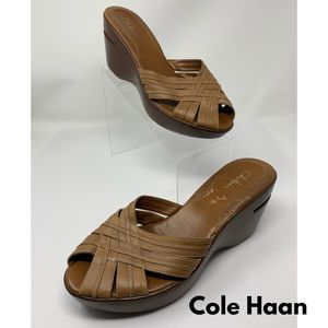 Cole Haan Nike Air Tan Slip On Wedge Sandals